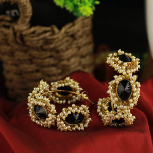 Antique Gold Oversized AD Stones Cluster Pearl Bangle Hoops - Black