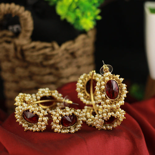 Antique Gold Oversized AD Stones Cluster Pearl Bangle Hoops - Deep Red - Happy Pique