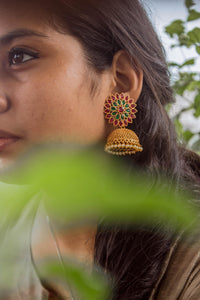 CZ Stones Studded Flower Chakra Jhumkas - Red & Green