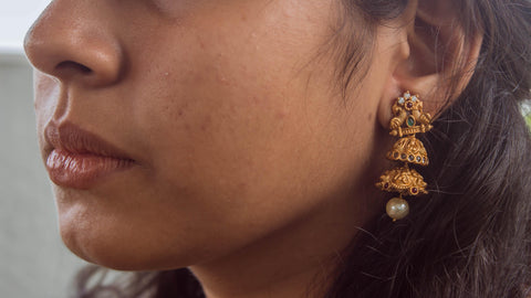 AD & CZ Stones Studded Two Layer Matte Jhumkas