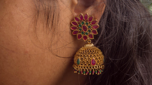 CZ Stones Studded Antique Gold Floral Jhumkas - Red & Green