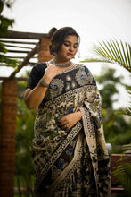Village Life Kalamkari Cotton Silk Saree