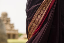 Rudraksh & Annam Border Chettinad Cotton Saree - Rudraksh Brown