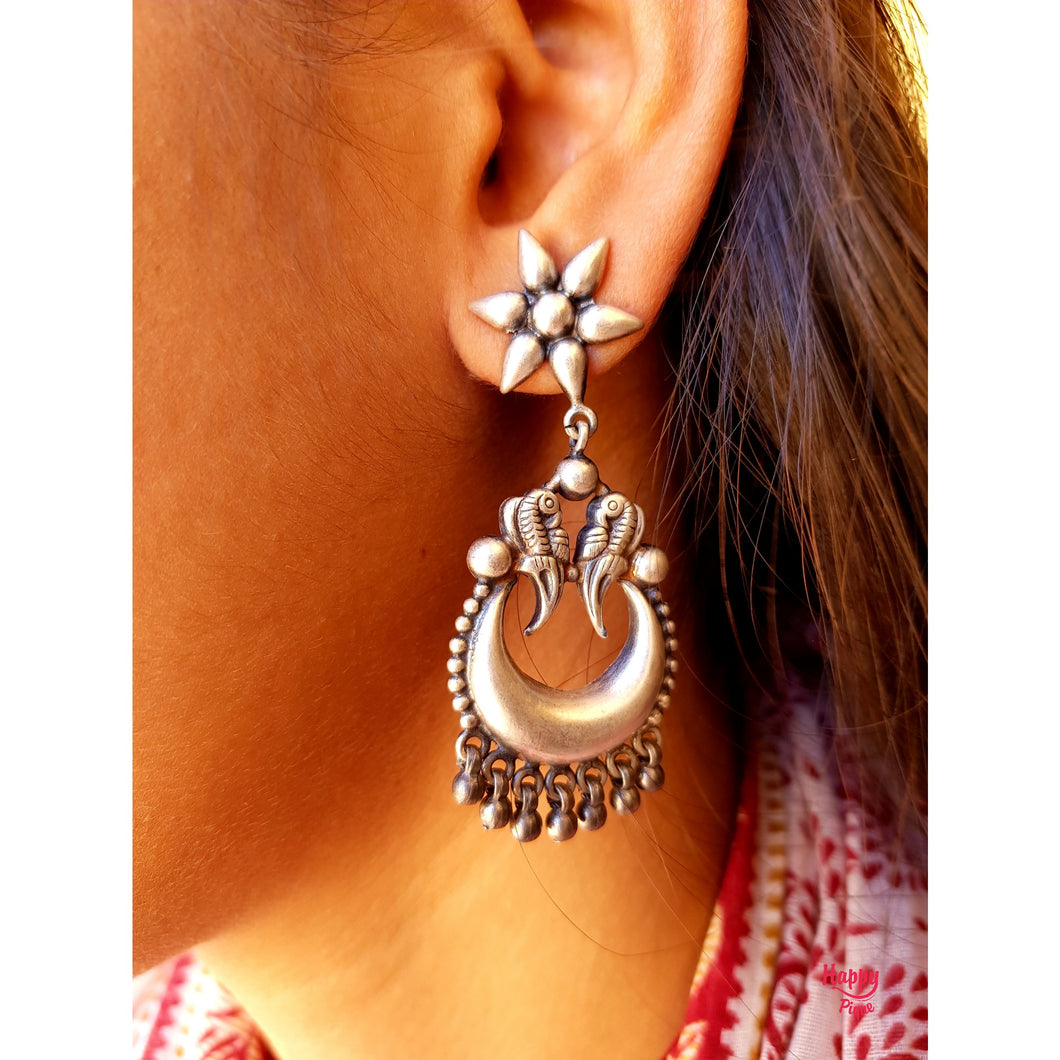 Pure Silver Mulla Poo Parrot Chaandbali Drop Earrings