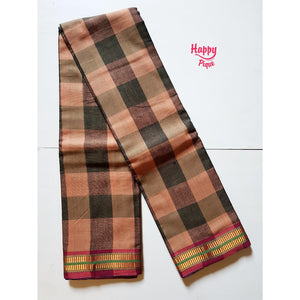 Checkered Body with Zari Body Soft Cotton Handloom Saree