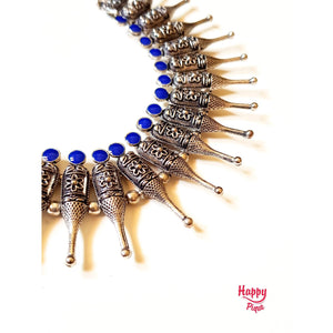 German Silver Flower Bullet Beads - Royal Blue