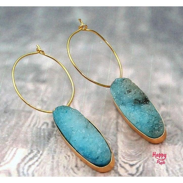 Druzy Blue Natural Stone Hoop Earrings - Happy Pique