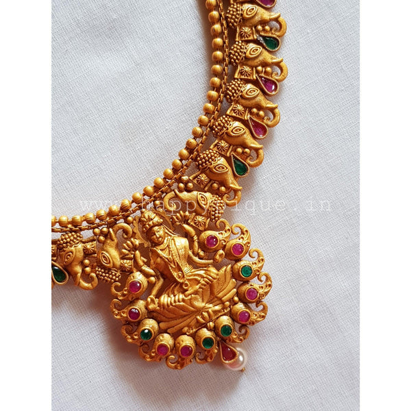 Gajalakshmi Matte Finish Traditional Temple Necklace