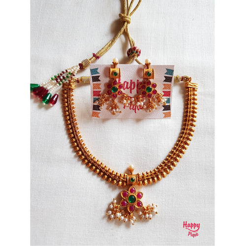 Traditional Attigai Style Mango Floral Necklace