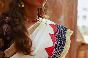 Kasavu Cotton Patchwork Applique Saree