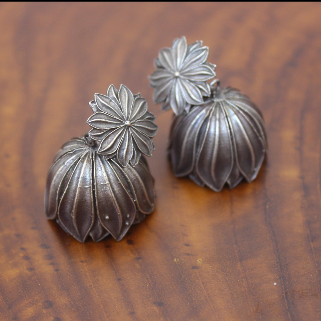 German Silver Flower Jhumkas - Happy Pique