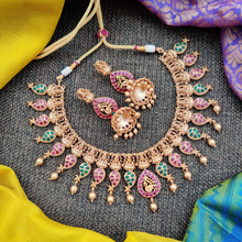 Load image into Gallery viewer, Matte Finish Kemp Lakshmi Devi Paan Bridal Necklace