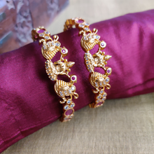 Load image into Gallery viewer, Matte Finish Mahalakshmi AD Stone Bridal Bangles - Size:2.6