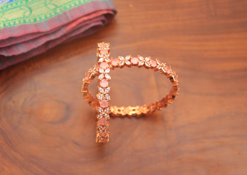 AD Stone Bridal Rose Gold Bangles - Soft Rose - Size: 2.6 - Happy Pique