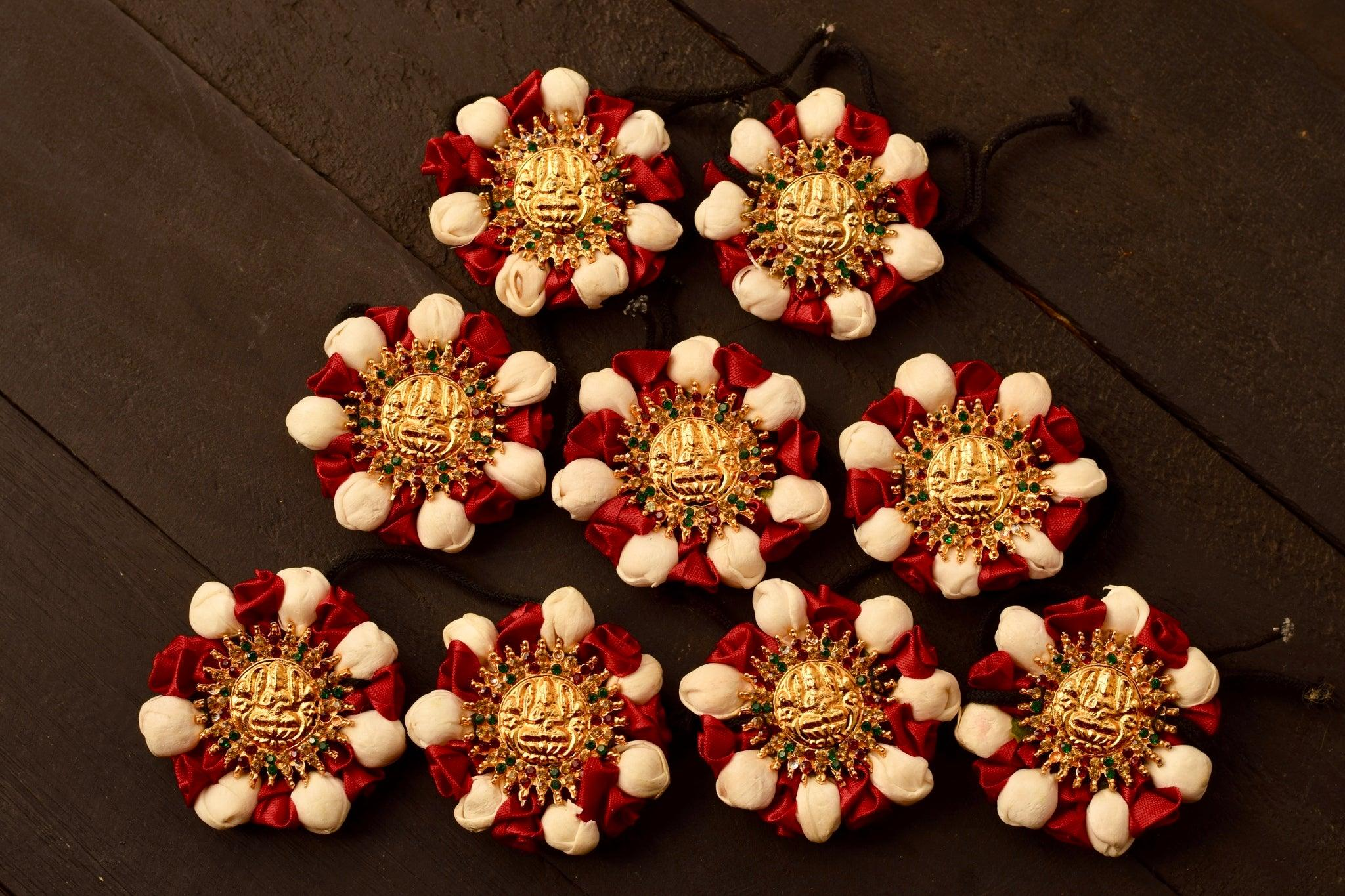 Mahalakshmi Stone Studded Artificial Flower Jada Billas - Malli & Rose