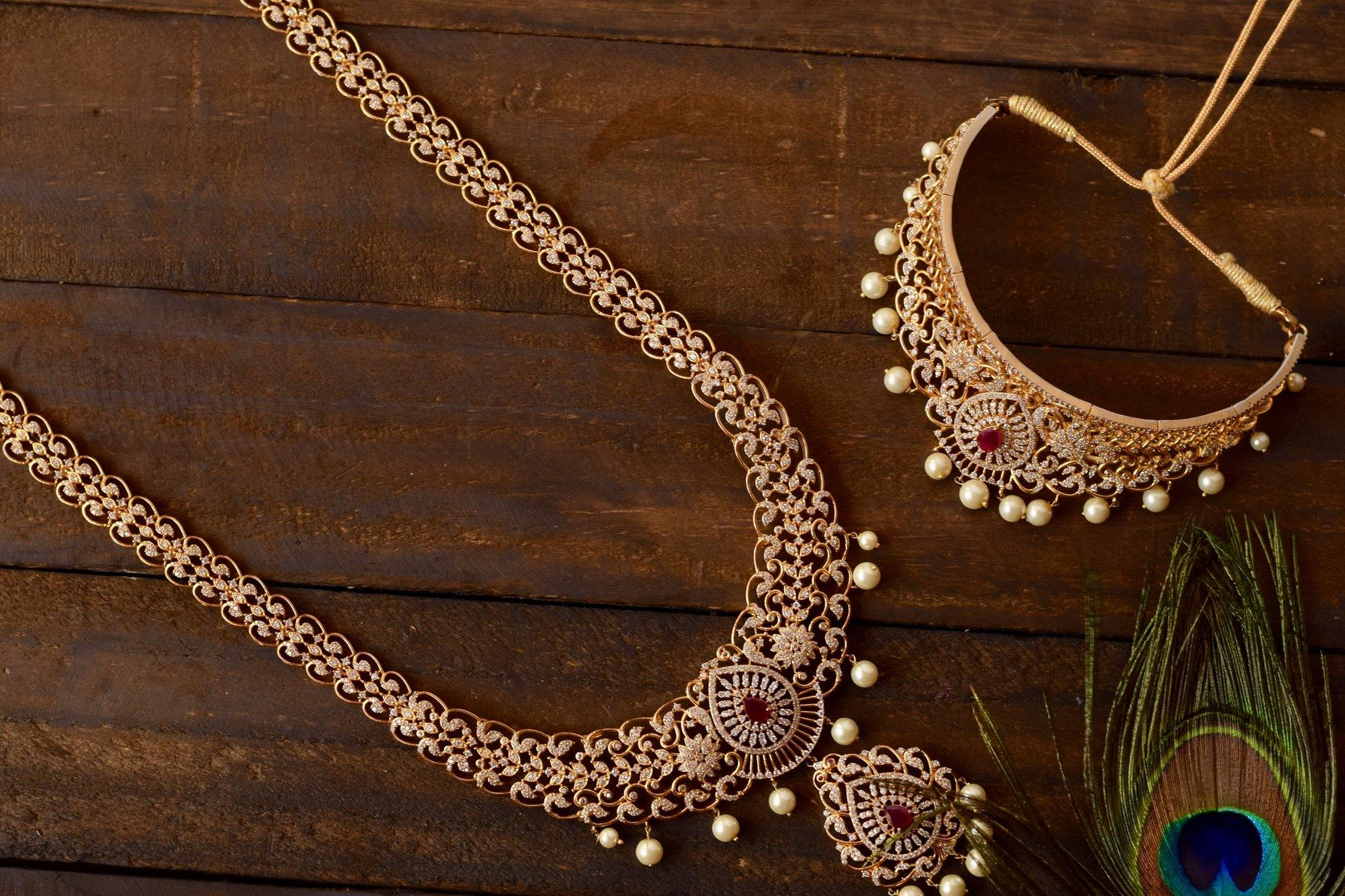 AD Stones Studded Premium Bridal Haaram Necklace Set