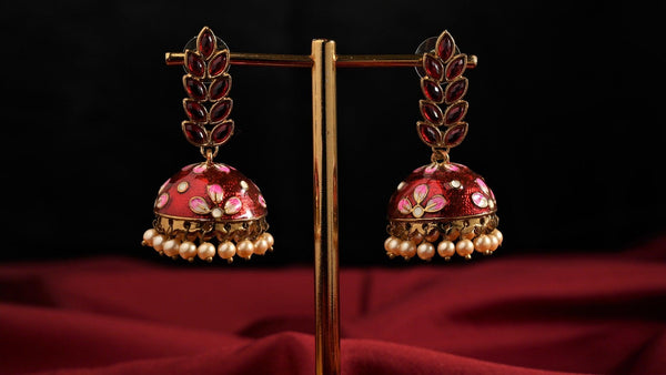 Hand-Painted Meenakari CZ Leaf Stud Jhumkas - Red