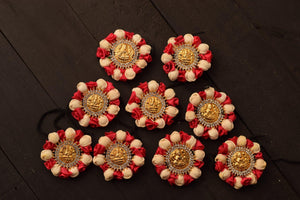 Mahalakshmi Stone Studded Artificial Flower Jada Billas - Malli & Rose (Light Red)