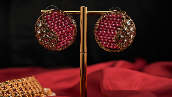 Antique Gold Woven Beads Studs - Pink