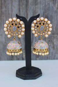 Polki Stones Studded Pearl Flower Meenakari Earrings - Pastel Grey