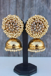 Cluster Pearl Kemp Flower Antique Gold Jhumkas - Gold