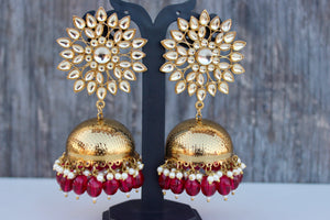Long Kundan Flower Antique Gold Bollywood Festive Jhumkas