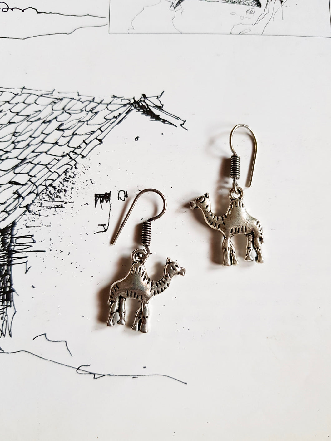 Cute Camel German Silver Earrings