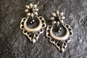 Traditional Floral Design Chaandbali Brass Earrings - Black
