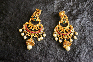 Designer Peacock CZ Stones Studded Festive Earrings