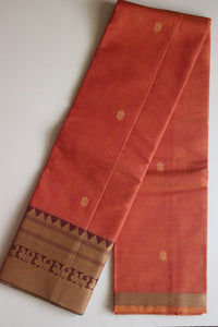 Pure Handwoven Buttidar Chettinad Cotton Saree - Dark Peach