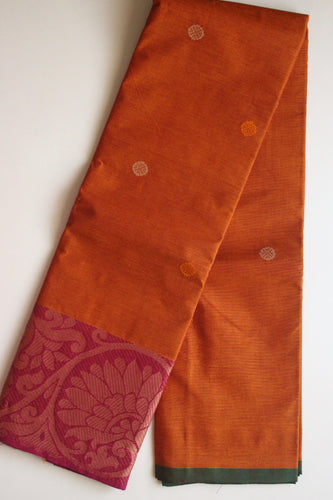 Pure Handwoven Buttidar Chettinad Cotton Saree - Fiery Orange