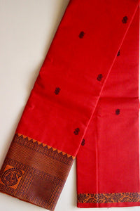 Pure Handwoven Buttidar Chettinad Cotton Saree - Hot Red