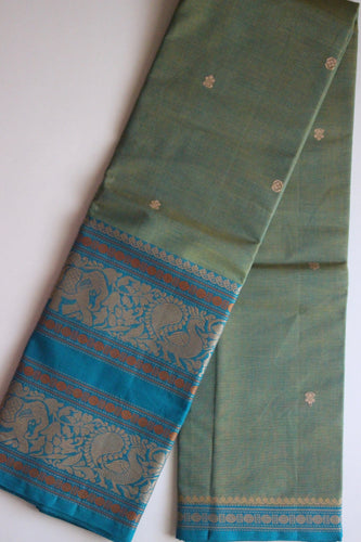 Pure Handwoven Buttidar Chettinad Cotton Saree - Dual Shade Greenish Blue