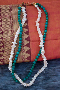 Uncut & Agate Beads Two Layer Gypsy Necklace