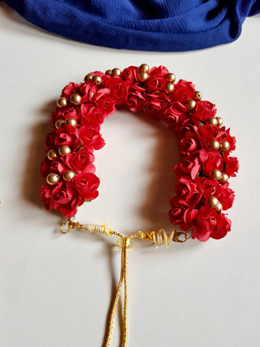 Bridal Hair Bun Artificial Flower Accessory - Red Rose & Gold
