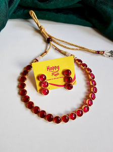 Antique Gold Button Kemp Necklace - Red