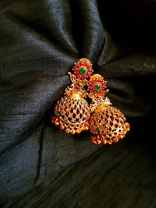 Matte Finish Cut Work Flower Peacock Jhumkas