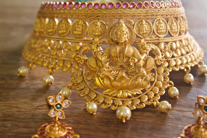 Heavy Bridal Antique Matte Mahalakshmi Bridal Choker - Red