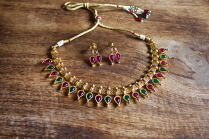 Antique Gold Tear Drop Kemp Necklace - Red & Green