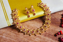 Semi Precious Kemp Stones Studded Temple Tilak Necklace