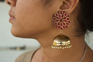 Kemp Flower Long Bollywood Festive Jhumkas
