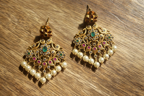 AD Stones Studded Floral Earrings