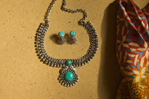 German Silver Kolhapuri Beaded Pendant Necklace - Turquoise