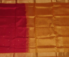 Silk Cotton Saree in Red and Golden Mustard with Zari Butta and Simple border