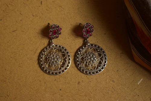 Two Tone Designer Flower Kemp Studded Earrings - Rani Pink