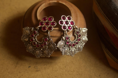Intricate Ethnic Leaf Carvings Kemp Chaandbali Earrings