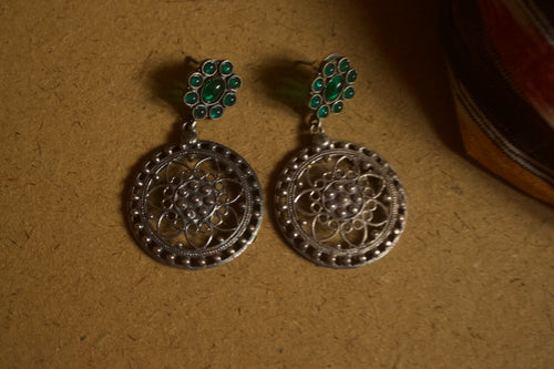 Two Tone Designer Flower Kemp Studded Earrings - Green