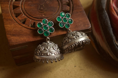 Flower Dome Jhumkas - Green