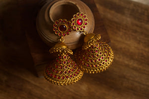 Long Matte Finish Traditional Umbrella Jhumkas - Red