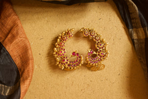 Semi Precious Kemp Stones Studded Mayur Coin Earcuff Earrings